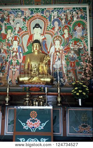 GYEONGJU CITY, NORTH GYEONGSANG PROVINCE / KOREA - CIRCA 1987: An image the Buddha sits on an altar in the Bulguksa Buddhist Temple.