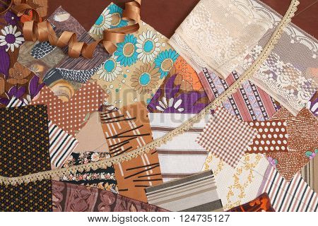 Background of fabric patches in brown colours