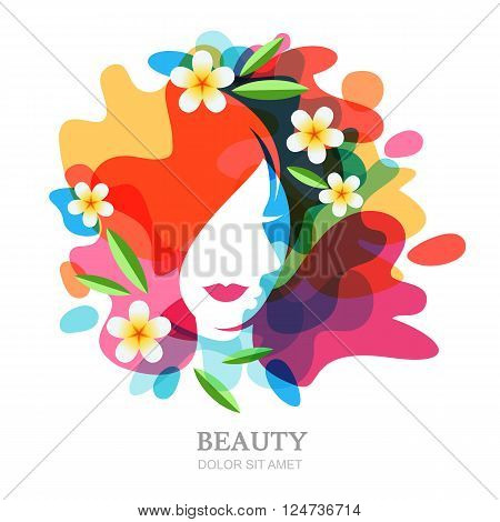 Female Face And Plumeria Flowers On Multicolor Splash Background.