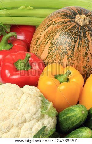 Fresh assorted vegetables close up  vegetarian food