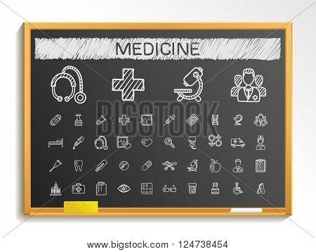 Medical hand drawing line icons. Vector doodle pictogram set. chalk sketch sign illustration on blackboard with hatch symbols, hospital, emergency, doctor, nurse, pharmacy, medicine, health care.