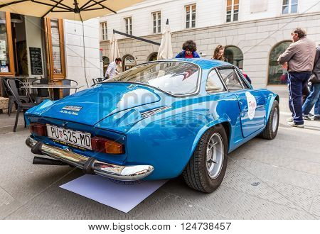 TRIESTE ITALY - APRIL 3: Photo of a Renault Alpine 1300 Berlinette on the Trieste Opicina Historic. APRIL 3 2016. Trieste Opicina Historic is regularity run for vintage and classic Cars.