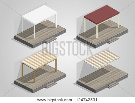 Set of canopies and awnings for the terrace house or cafe