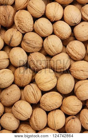 Walnuts nuts. Many brown shell. Organic background