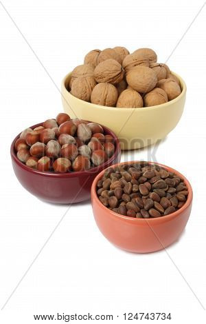 Bowls of walnuts hazelnuts and pine nuts isolated on white background