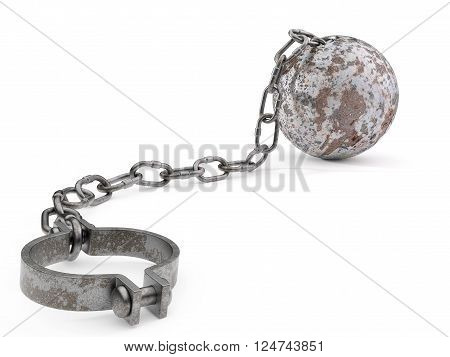 Rusty ball and chain isolated on a white background. 3D Illustration.