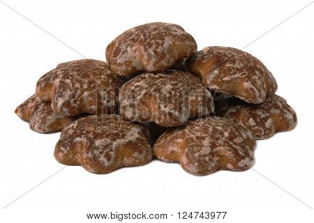 Chocolate glaze cookies, isolated on white background
