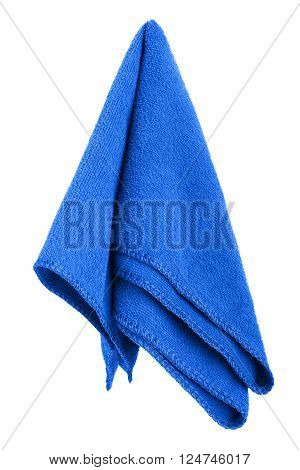 Hanging blue and clean towel isolated on white background