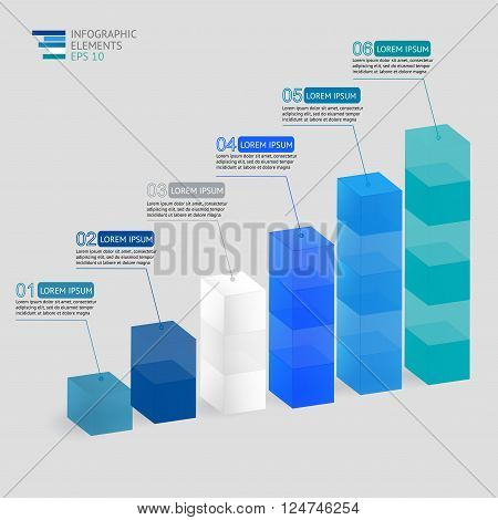 Modern vector 3D  illustration infographic for statistics,  analytics, financial reports, presentation and web design with transparent growing graph in blue colors.