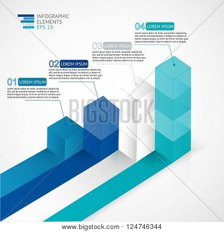 Vector illustration infographic for statistics,  analytics, marketing  reports, presentation and web design with transparent growing bar graph in blue colors.