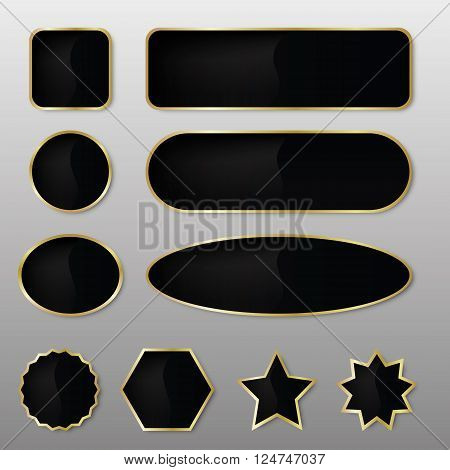 Set of 10 elegant black with gold web buttons with different shapes.