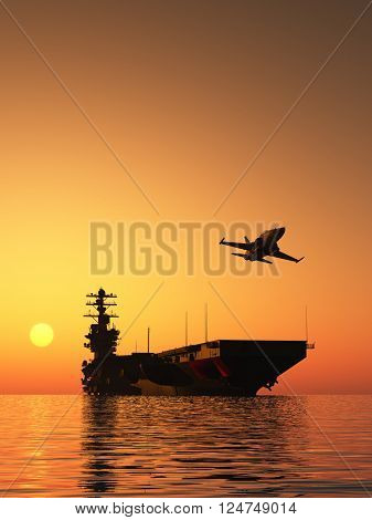 Silhouette of military aircraft and spacecraft., 3d render