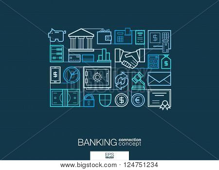 Banking integrated thin line symbols. Modern linear style vector concept, with connected flat design icons. Abstract background illustration for network, money, card, bank, business, finance concepts