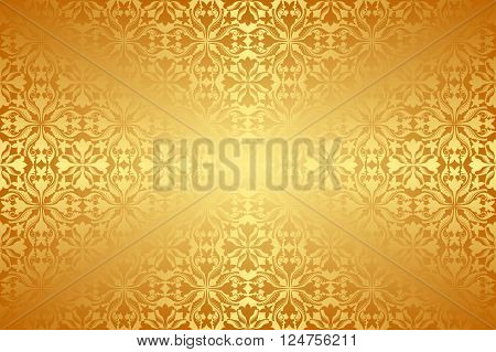 golden background with antique pattern - vector illustration