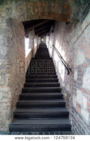 Stairs leading to the top of Castle Hill in Budapest Hungary