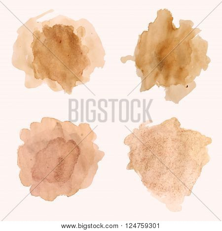 Vector Set Of Blots And Splashes Of Spilled Coffee