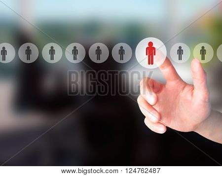 Networking And Recruitment - Hand Pressing A Button On Blurred Background Concept On Visual Screen.