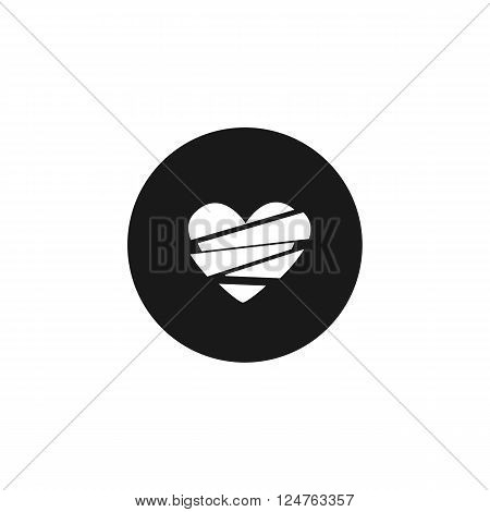 broken heart, sadness and loneliness white icon on black isolated background