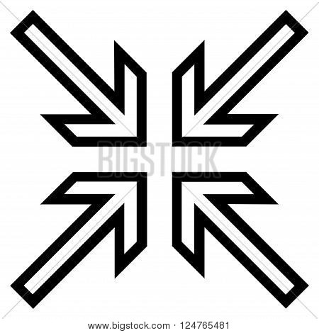 Implode Arrows vector icon. Style is contour icon symbol, black color, white background.