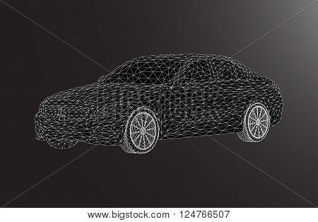 black lowpoly car lux design illustrstion line