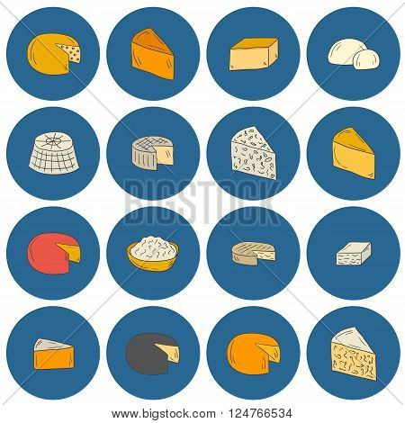 Set of cheese type icons in cartoon hand drawn style. National ethnic europe cuisine concept. Milk production. Italian and french daily products. Milk intolerance prohibited food