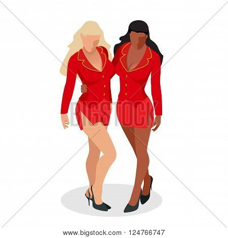 Women in red dress. Sexy busty two women with large breasts and a beautiful body in a short red outfit isolated on white Flat 3d vector isometric illustration