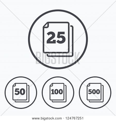 In pack sheets icons. Quantity per package symbols. 25, 50, 100 and 500 paper units in the pack signs. Icons in circles.