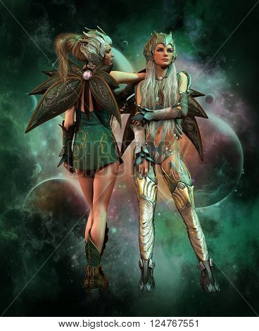 3d computer graphics of a fantasy scene with two girls in fantasy outfit