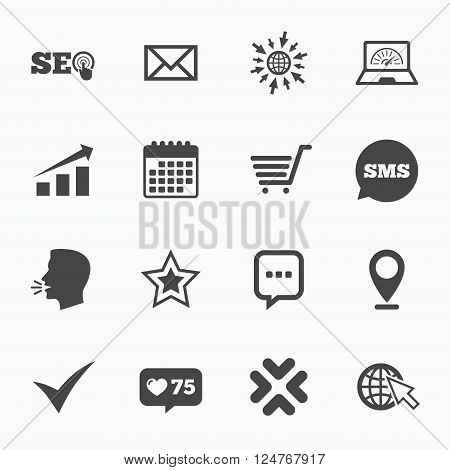 Calendar, go to web and like counter. Internet, seo icons. Tick, online shopping and chart signs. Bandwidth, mobile device and chat symbols. Sms speech bubble, talk symbols.