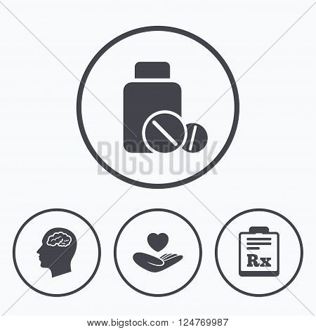 Medicine icons. Medical tablets bottle, head with brain, prescription Rx signs. Pharmacy or medicine symbol. Hand holds heart. Icons in circles.