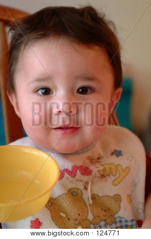 Children- Baby Eating Cereal