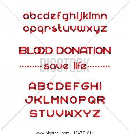Round blood font set. Blood donation typeset. Save life. Vector blood alphabet