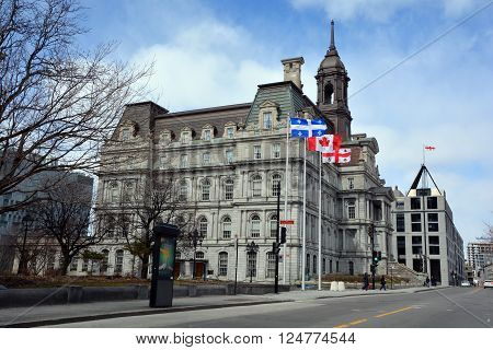 MONTREAL CANADA APRIL 25 2016: Montreal's city hall is one of the best examples of the Second Empire style in Montreal Canada.