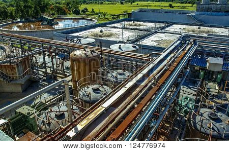 Waste water, sewage treatment, water purification plant