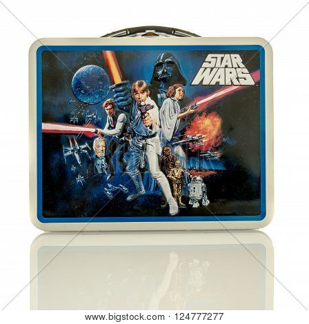 Winneconne, WI - 6 April 2016:  Metal lunch box featuring Star Wars on an isolated background.