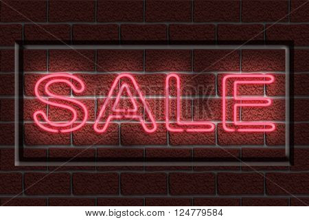 Illustration of a neon sign with the word SALE against a dark brick wall