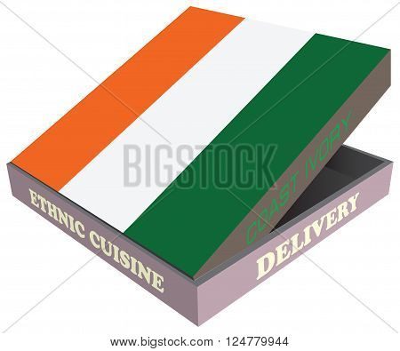 Delivery Ethnic cuisine Coast Ivory. Cardboard packaging. Vector illustration.