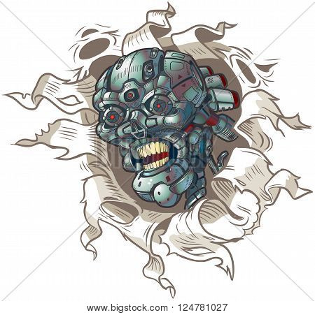 Vector cartoon clip art illustration of a robot skull ripping out of a hole in the background