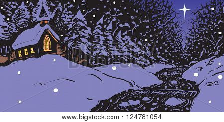 Vector cartoon illustration of a snowy winter evening featuring a church with lit windows near a creek or stream with a single star in the sky.