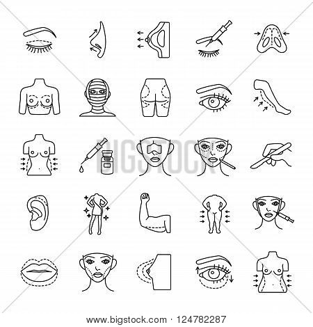 Plastic surgery 25 outlines vector icons collection