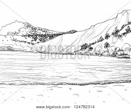 Vector summer seascape sketch.  Rocky shore, lapped by the surf