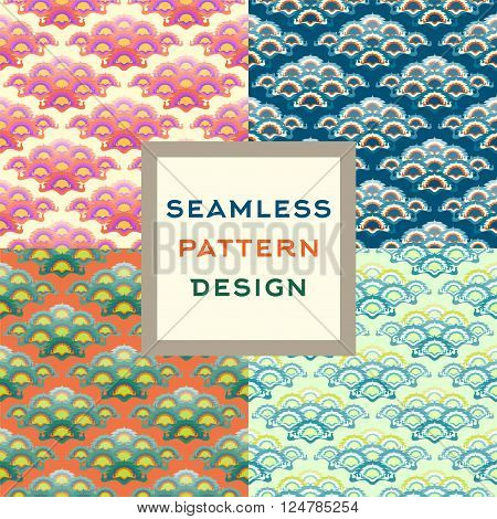 Colorful oriental stylized seamless pattern. Vector illustration