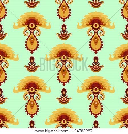Stylized colorful mushroom ornament seamless pattern. Vector illustration