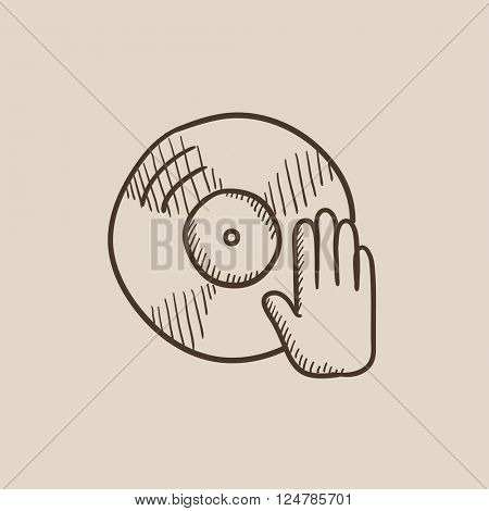 Disc with dj hand sketch icon.