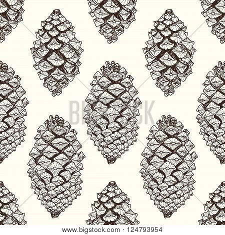 Realistic brown pinecones seamless pattern. Vector hand-drawn illustration