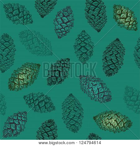 Realistic pinecones on green seamless pattern. Vector hand-drawn illustration