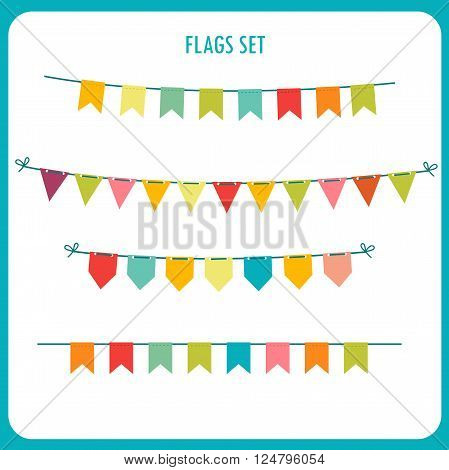 Flags Garlands Colors Vector Set. Vector On White Background. Vector Holiday Clip Art. Holiday Garland Ideas. Holidays Garland Sale. Holiday Garland Images. Commercial Holiday Garlands.