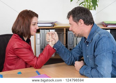 Arm Wrestling Business Woman Vs Business Man