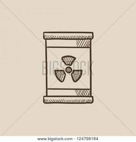 Barrel with ionizing radiation sign sketch icon.