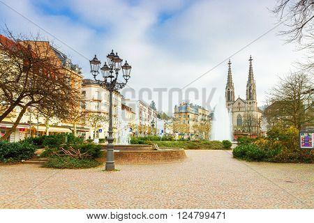 BADEN-BADEN, GERMANY  - MARCH 19: Historic center of Baden-Baden. Baden-Baden is the most visited resort in Germany. Germany, Baden-Baden, March 19, 2016